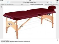 Foldable massage table with head rest and carry bag