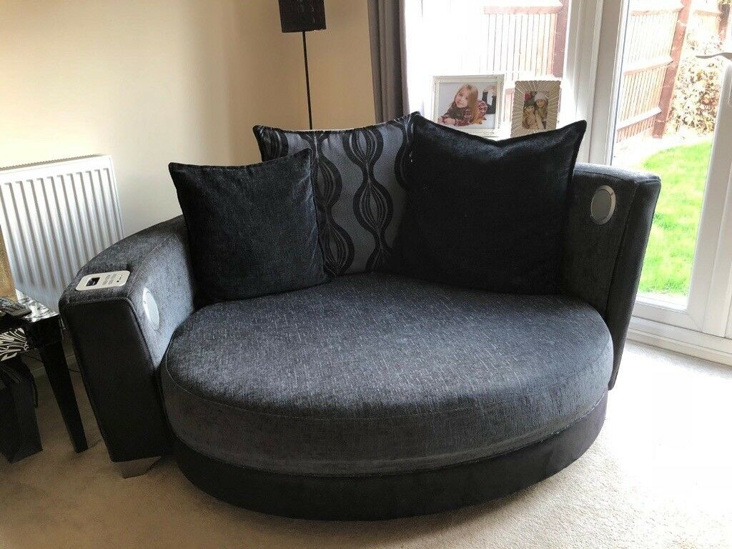 Extra Large Round Sofa Cuddle Love Chair Black And Grey