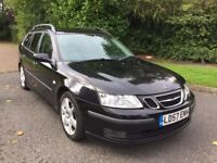SAAB 9-3 1.9TID VECTOR SPORT SPORTWAGEN 57 REG IN BLACK WITH HALF LEATHER,FULL SERVICE HISTORY
