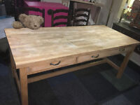 Superb Large Traditional Solid Pine Farmhouse Kitchen Table with Three Drawers (nearly 6ft)