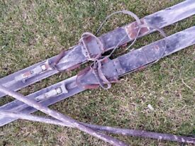 Vintage wooden skis and poles