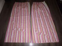 """GIRLS PINK STRIPED BEDROOM CURTAINS 70"""" x 60"""""""