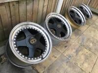 """OZ Futura 17""""x10J 5x120 3 Piece Split Rim Polished Dish Staggered Alloy Wheels"""