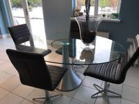 DWELL DINING KITCHEN GLASS TABLE AND 4 CHAIRS
