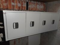 Super Trendy INDUSTRIAL Original 80's Retro Vintage 4 Drawer Filing Cabinet /Drawers. Grey/Brown