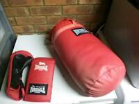 Punch bag and boxing gloves
