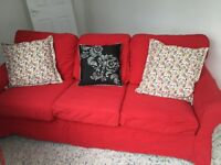 Red sofa bed (double) 78 inches long - covers removable and replaceable