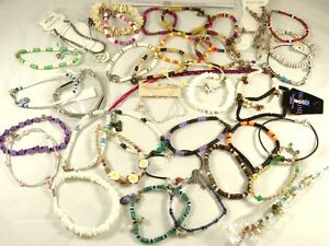 New Lot of 38 Below Wholesale Assorted Beachy Surfer Style Anklets