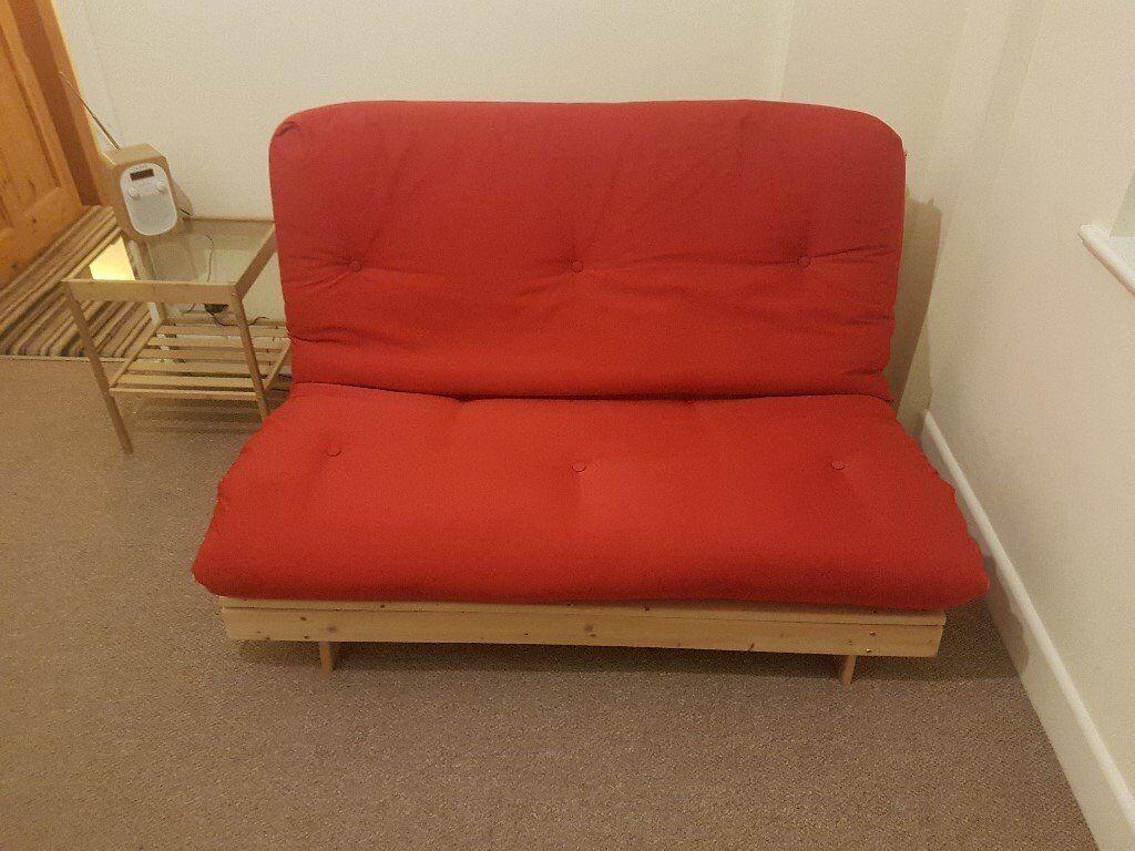 Futon 2 Seater Wooden Frame Sofa Bed Mattress (Red)