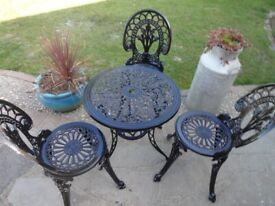 GARDEN FURNITURE SET --TABLE AND 3 CHAIRS --CAST ALUMINIUM --