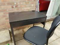 Small Brown Desk & Chair