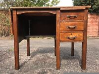 Oak Office Knee Hole Desk with 3 Drawers and Flap