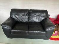 2 Seater Black Leather Sofa (FREE)