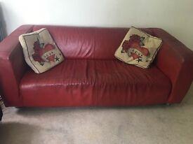 Ikea Klippan Sofa - red leather