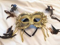 Gold Sequin Masquerade Mask on Hair Band