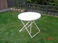 Overton White Metal Patio Table. Can Deliver.