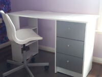 desk and chair (white and grey)