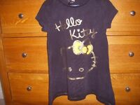 Girls Hello Kitty Top (George) Black with gold decoration. Age 6-7 years