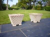 Square Planter Pots x 2 - large enough for bayleaf trees or topiary etc