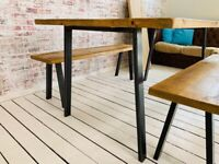 Industrial Open Frame Dining Table / Bench Sets - Any RAL Colour Powder Coating!