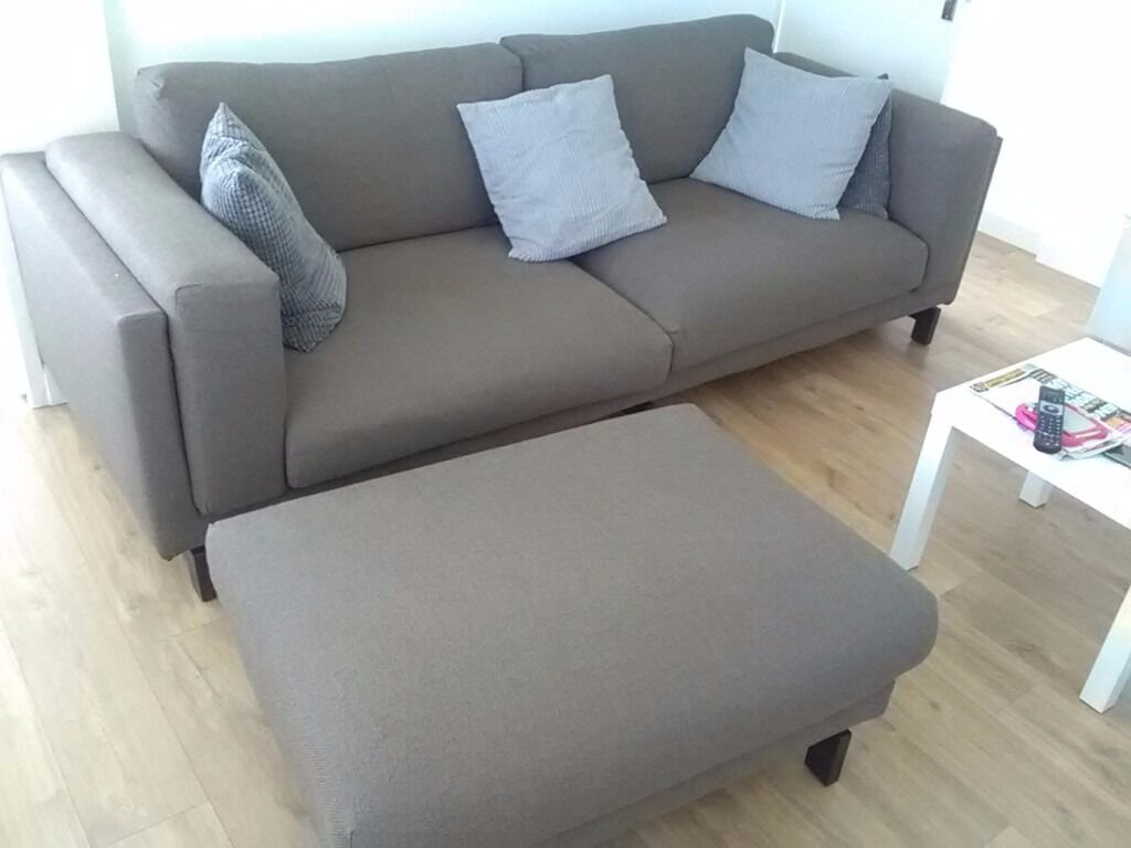 3seater Sofa And Puffy From Ikea In Brown Hessian Type Material