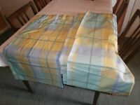 PAIR OF UNLINED BLUE/GREEN/YELLOW CHECK CURTAINS