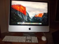 "Apple IMAC 24"" EL Capitan with Apple mouse and keyboard."