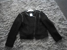 Ladies Black Biker Style Jacket size 16 with zipped front. Current & modern style. New from H & M