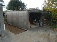 Concrete garage with up and over door