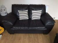 2 X two seater leather sofas DFS