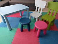 Ikea Mammut children's table, chairs and stools