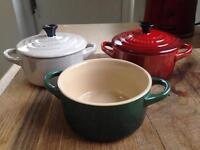 Le Creuset mini casserole dishes