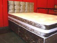Crushed Velvet Double Divan Bed and Memory Foam Mattress. Brand New in Wrapping