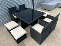 FREE DELIVERY BLACK RATTAN GARDEN CUBE GLASS TOP TABLE, 4 CHAIRS & 4 STOOLS GOOD CONDITION