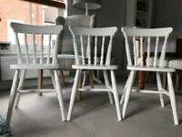 Pine Farmhouse Dining Chairs x 3 - handpainted