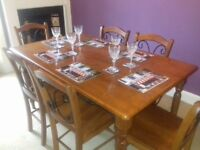 Solid Wood Dining Table with 6 Chairs VGC