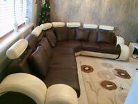 Nova Cream and Brown Bonded Leather Corner Sofa