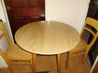 Table and two chairs / drop leaf table and two chairs from John Lewis, good quality, can deliver