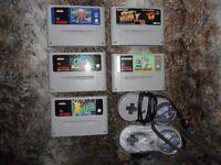 £30.00 / 5 super nintendo games and 2 remotes