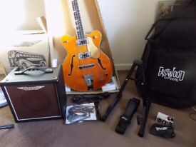 GREAT LOOKS & SOUND EASTWOOD CLASSIC 4 BASS GUITAR + ASHDOWN AMP + GIGBAG