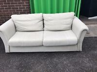 2 seater chenille fabric settee and matching armchiar - pale green