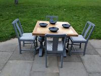 Antique draw leaf/refectory dining table & 4 chairs. Rustic/shabby chic/slate grey.