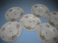 "6 x 9.5"" flower patterned dishes marked E Bourgeois Paris"
