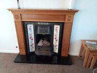 FIREPLACE SURROUND WITH TILED INSET AND GRANITE HEARTH