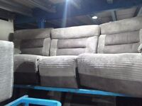 Half cord/ fabric 3 seater curved recliner & 3 seater recliner.
