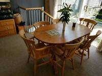 Solid Farmhouse style Antique Pine Table (stained Oak) with 6 Chairs