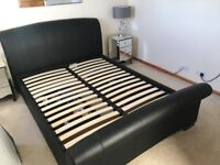 KING SIZE BED - SANTINO BLACK BONDED LEATHER 2 DRAWERS