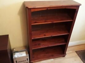 3-shelf Bookcase - Solid Pine, Mahogany Stained