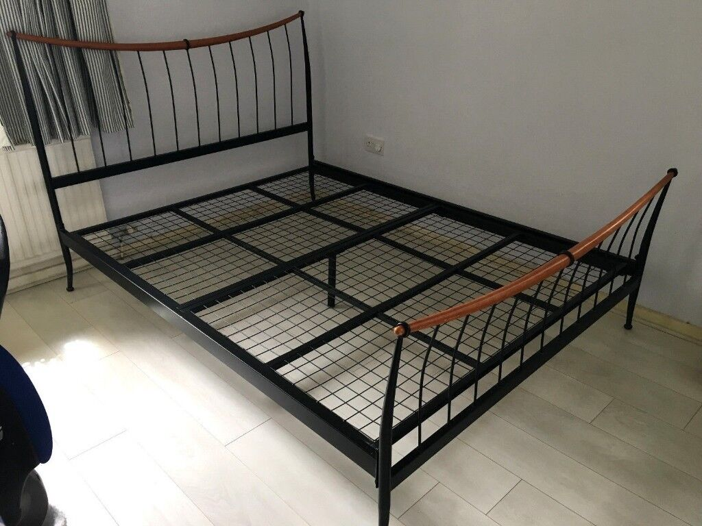 Super King Size Metal Bed Frame With 2 Big Storage Drawers Under And