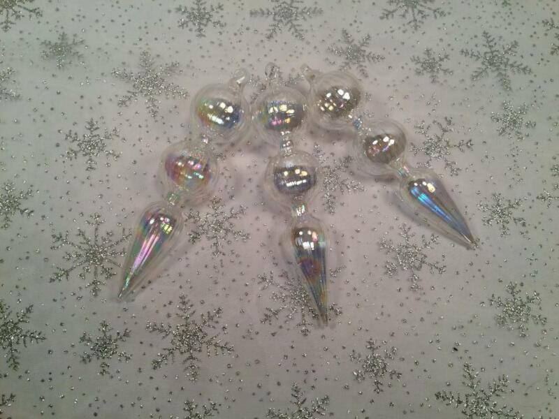 "LOT OF 3 IRIDESCENT BLOWN GLASS ICICLE CHRISTMAS ORNAMENTS 5 1/2"" LONG"